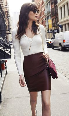 Not too long or too short, this faux calf pencil skirt is perfect for multitask days.