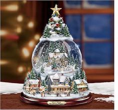 THOMAS KINKADE WONDROUS WINTER SNOW GLOBE MUSICAL TREE in Collectibles,Disneyana,Contemporary (1968-Now) | eBay