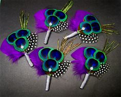 5 peacock boutonnieres purple wedding peacock themed by Rationale, $59.00