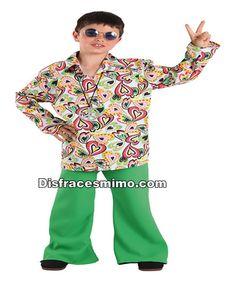 DisfracesMimo, disfraz de hippie años 70 para niños infantiles 5 a 6 años.Con