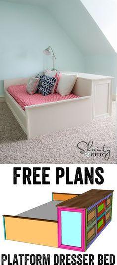 DIY Platform Dresser Bed Plans... LOVE this! www.shanty-2-chic.com