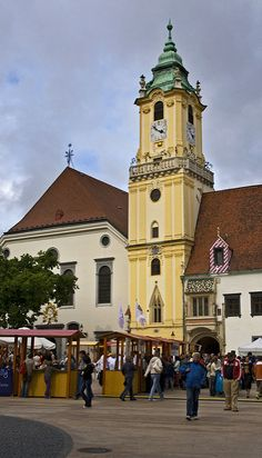 Bratislava Old Town Hall Colourful Buildings, Old Stone, Bratislava, Town Hall, Old City, Prague, Budapest, Clocks, Singapore