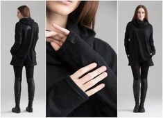 Black Hooded Sweater ,Women Loose Sweater Turtleneck Sweater Extravagant Blouse Loose Knitwear Wool Poncho Asymmetrical A0010 by MDNT45 Knit Shrug, Knitted Poncho, Loose Sweater, Cream Sweater, Fall Sweaters, Sweaters For Women, Pantalon Cigarette, Femmes Les Plus Sexy, Leggings