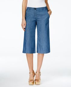 Give your denim collection a chic makeover with these culotte jeans from Michael Michael Kors. | Cotton | Machine wash | Imported | Mid rise | Regular fit through hips and thighs  | Wide leg; cropped