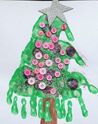 Make a #Christmas tree using your kids' hands! Use different colors of paint for each kid for a fun variation...  #craft