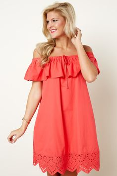 If You Dare Tomato Red Off The Shoulder Dress at reddressboutique.com