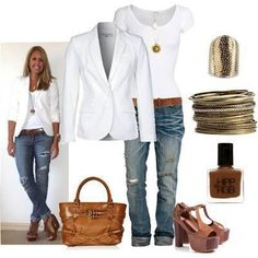 Blue jeans with white tee, white jacket and gold & brown accessories.