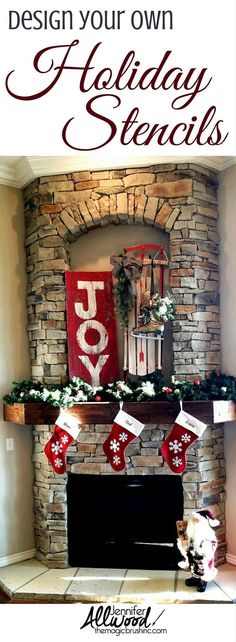 Design your own Christmas and holiday stencils on a salvaged barnwood. Makes cute holiday, porch and home decor! More DIY Holiday projects and painting tips By Jennifer Allwood Diy Christmas Room, Homemade Christmas Decorations, Christmas Mantels, Rustic Christmas, Christmas Decorations To Make, Christmas Projects, All Things Christmas, Christmas Ideas, Christmas Design