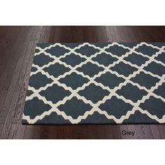 Hand-hooked Alexa Moroccan Trellis Wool Charcoal Grey Rug (3'6 x 5'6) | Overstock.com - perfect for entry way,  paired with matching runner.