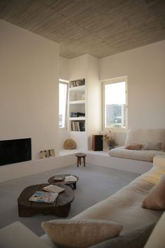 love the built in furniture. dont like the white walls but love the creams/natural tones. I would love to have a zen room