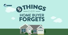The top 5 things a home buyer forgets during the home buying process. Top Agents, Home Selling Tips, Home Buying Process, Home Warranty, First Home, 5 Things, Forget, Real Estate, Marketing