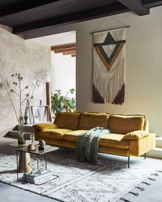 Modern living room decorating ideas for apartments with brown furniture decor layout 5 ways to make the most of your space Retro Sofa, Living Room Sofa, Living Room Decor, Dining Room, Mustard Sofa, Yellow Kitchen Designs, Mustard Yellow Bedrooms, Half Painted Walls, Bedroom Photography