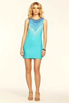 Beaded Silk Turquoise Dress::NEW ARRIVALS::CLOTHING::Calypso St. Barth