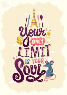 Your only limit is your soul *Pixar Lettering Series by Risa Rodil Pixar Quotes, Disney Quotes, Movie Quotes, Quotes From Movies, Film Pixar, Pixar Movies, Citations Film, Motivational Quotes, Inspirational Quotes