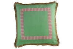 A striking new take on classic motifs, this mixed media pillow is rendered in green with appliqué detailing and an all-around eyelash fringe.