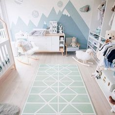 Our Neo matcha playmat from the Nordic Collection can be a gorgeous centerpiece in your baby's room! It goes so well with the cute wallpaper mountain ranges in 's nursery ⛰ Baby Boy Room Decor, Baby Room Design, Baby Boy Rooms, Nursery Decor, Daughters Room, Kids Bedroom, New Homes, Image Originale, Beautiful Pictures