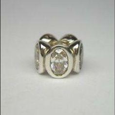 PANDORA Clear CZ Oval Lights Bead Charm PANDORA 925 Sterling Silver Clear CZ Oval Lights Bead Charm 790311CZ RETIRED Pandora Jewelry