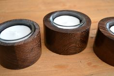 Wood Candle Holder - Stunning Hand Turned Deep Wenge Wooden Tea Light Candle…