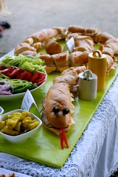 Some great ideas for a Reptile Safari Party! I love this idea for the snake sandwich too.