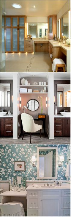 20 Make-up Table with Mirror in the Bathroom If you love make-up like most women do, make-up vanities are most likely a necessity for you in the bathroom – sometimes, if you couldn't afford it or Bathroom Wall Decor, Bathroom Styling, Small Bathroom, Bathrooms, Bathroom Trends, Bathroom Renovations, Bathroom Ideas, Bathroom Designs, Master Bath Vanity