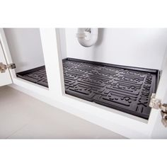 Xtreme Mats Black Kitchen Depth Under Sink Cabinet Mat Drip Tray Shelf Liner in. ) at The Home Depot - Mobile Kitchen Cabinets Under Sink, Kitchen Cabinet Liners, Kitchen Shelf Liner, Sink Shelf, Kitchen Cabinet Organization, Kitchen Sink Faucets, Diy Cabinets, Kitchen Cabinetry, Kitchen Storage