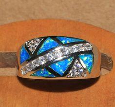 blue fire opal Cz ring Gemstone silver jewelry Sz 7.75 modern engagement EW