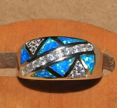 blue fire opal Cz ring Gemstone silver jewelry Sz 7.75 modern engagement EW