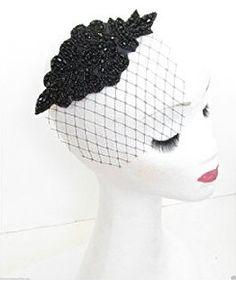 Black Beaded Fascinator Headpiece Birdcage Veil Net Hat Races Vintage 1940s M74 *EXCLUSIVELY SOLD BY STARCROSSED BEAUTY*