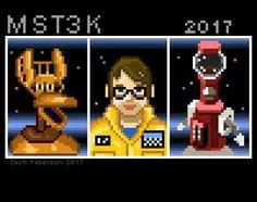 Pixel art by Zach Peterson Satellite Of Love, Get Movies, Mystery Science, Pixel Art, Nerd, Geek Stuff, Cinema, Theater, Movie Posters