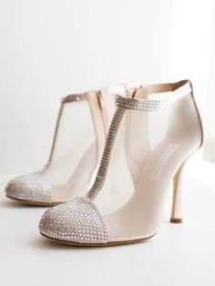 Take glamour up a notch in a pair of mesh heeled booties with a bit of bling on the toes for your wedding day bridal look.