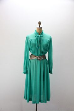 XXL Vintage Dress Kelly Green with Pussy Bow by SIZEisJUSTaNUMBER, $54.00