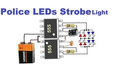 This Police Style Strobe Light Circuit utilizing 555 clock ICs shows the natural lights utilized on squad cars. To accomplish this Police St. Electronics Projects, Simple Electronics, Electronic Circuit Projects, Electronics Components, Electronic Engineering, Electronics Gadgets, Led Projects, Electrical Projects, Led Strobe