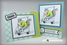 I am in love with all things GOLF when it comes to card making, so I was thrilled when Art Impressions came out with the . Masculine Birthday Cards, Masculine Cards, Old Man Funny, Golf Birthday Cards, Golf Cards, Art Impressions Stamps, Create Your Own Card, Hand Stamped Cards, Penny Black