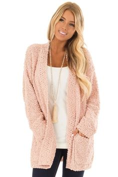 a6d499789cafd Dusty Pink Long Sleeve Open Front Cardigan with Pockets