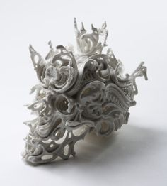 Amazing porcelain carved skulls by Katsuyo Aoki
