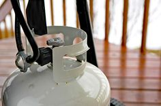 To check the level of gas in your propane tank, bring a cup of water to a boil and pour it over the side of the tank. Now feel the tank and look for the point where the tank goes from feeling hot (empty) to cool (filled with propane). That's your propane level. So simple!