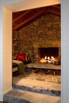 Secluded cabin retreat on the San Juan Islands with a writer's cottage #cabin #fireplace #nook Cabin Fireplace, Fireplace Design, Inglenook Fireplace, Fireplace Ideas, Fireplace Seating, Mantel Ideas, Fireplace Makeovers, Custom Fireplace, Cabin Homes