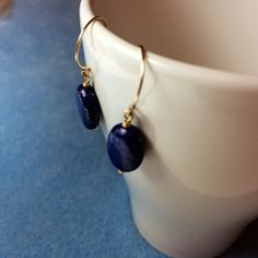 handmade gold filled sterling silver oral lapis lazuli earrings by BeadsLearnToRock