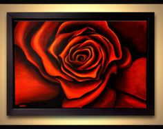 """36"""" Large Abstract Painting Red Rose Acrylic Painting FRAMED Ready to Hang by Osnat Ready to hang"""