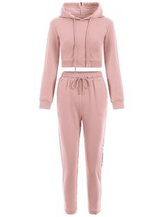 Sudadera sport con cordones y pantalones - Rosa L