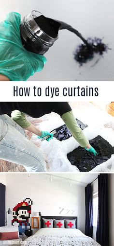 B's room - dyeing for some navy curtains - how to dye curtains