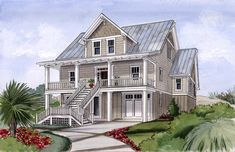 Beach House Plan for Narrow Lot - 15034NC | Beach, Cottage, Low Country, Southern, Vacation, Photo Gallery, 1st Floor Master Suite, CAD Available, Drive Under Garage, PDF, Narrow Lot | Architectural Designs
