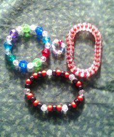Girls Jewelry play set-3 bracelets-one ring-plastic-stretch-multi colored
