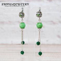 silver earrings agate earrings dangle earrings handmade earrings silver jewelry gemstone earrings green earrings green agate long earrings by OlgaShpiga on Etsy