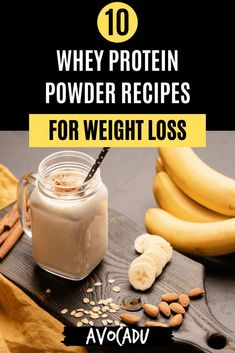 Looking for delicious recipes using whey protein powder? Look no further! Here are 10 recipes sure to satisfy your taste buds, while filling you up without filling you out! #avocadu #wheyproteinpowder #proteinpowderrecipes #recipesforweightloss #healthymeals Whey Protein Recipes, Protein Powder Recipes, Whey Protein Powder, Protein Foods, Smoothie Diet Plans, Smoothie Recipes, Weight Loss Drinks, Weight Loss Smoothies, Healthy Green Smoothies