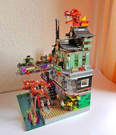 Lego Ninjago City, Lego City, Lego Movie Sets, Anime City, Lego Mecha, Lego Modular, Cool Lego Creations, Lego Design, Lego Architecture