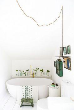 small bathroom freestanding bath at end