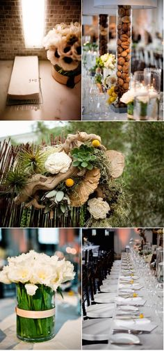 Gorgeous floral arrancements. I love the walnuts in the lamps.