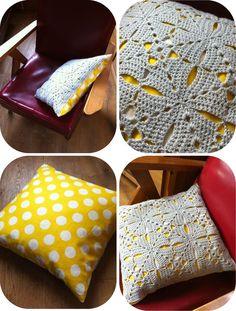 Coussin Crochet & Fabric