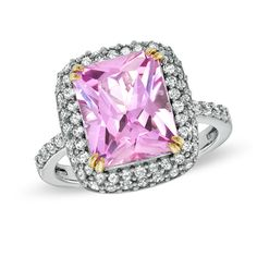 Radiant-Cut+Lab-Created+Pink+and+White+Sapphire+Frame+Ring+in+Sterling+Silver+and+14K+Gold+Plate+-+Size+7